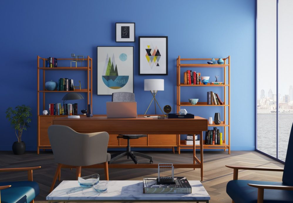 dark blue wall in home study