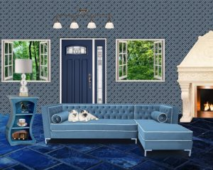 blue door in home with blue interior design