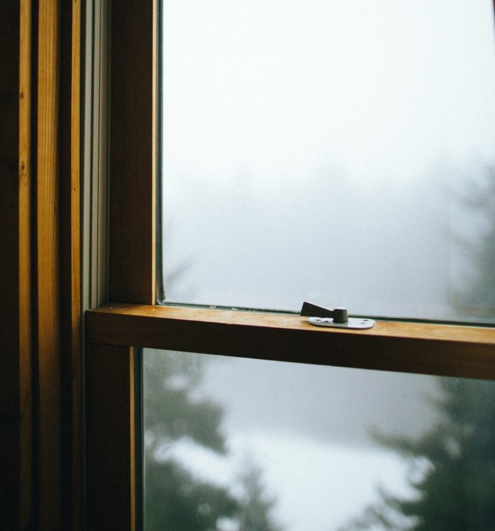dark wood window pane with latch